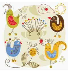 cartoon cute birds vector image vector image