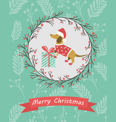 holiday postcard with funny dachshund and gift vector image