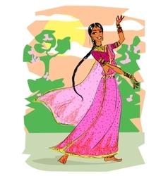 Indian woman dancing vector