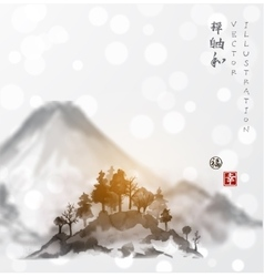 Landscape with mountains and trees vector image vector image