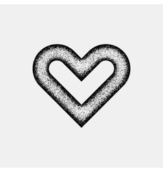 Black Abstract Heart Sign with Grain Texture vector image