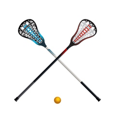 Crossed Lacrosse Sticks and Ball Isolated vector image vector image