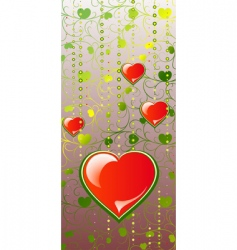 hearts on color patten background vector image vector image