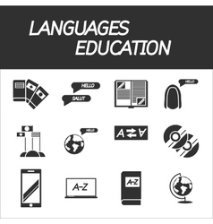 Languages education icon set vector image vector image