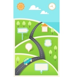 Road and Hills with Signs Infographic Template vector image vector image