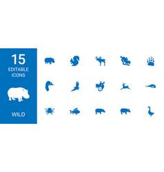 15 wild icons vector