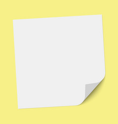 a square sheet note paper with bent lower vector image