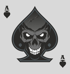 Ace spades with skull vector