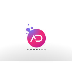 Ad letter dots logo design with creative trendy vector