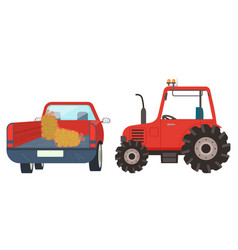 Agricultural machinery tractor with hay vector