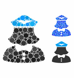 Airline stewardess composition icon round dots vector