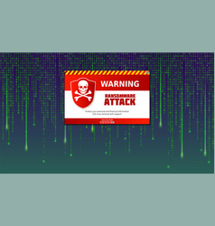 alert message of virus detected ransomware attack vector image
