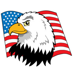 American eagles head with flag vector