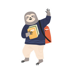 animalistic childish character student carrying vector image