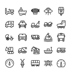Automobile line icons 3 vector