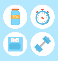 Bcaa vitamin and timer set vector
