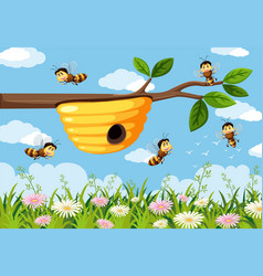 bee in the nature background vector image