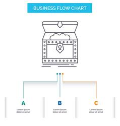 Box chest gold reward treasure business flow vector