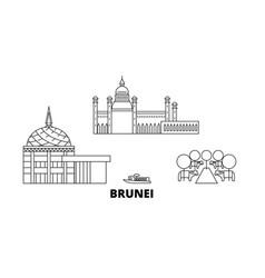 Brunei line travel skyline set outline vector