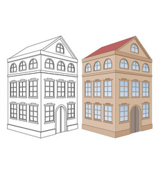 building residential house 3 floors outine and vector image