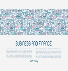 business and finance concept with thin line icons vector image