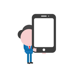 Businessman character holding smartphone vector