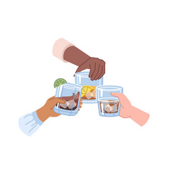 Cheers hands holding strong drinks in glasses vector