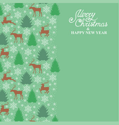 christmas card with deer fir pine and snowflakes vector image