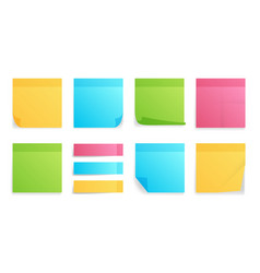 collection different colored sheets note vector image