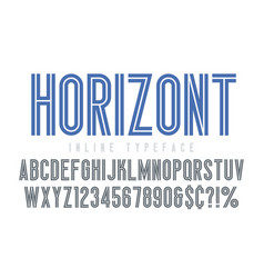 condensed inline horizont font typeface alphabet vector image