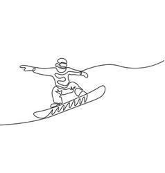 continuous one line snowboarder jumps extreme and vector image