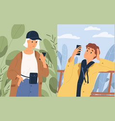 couple chatting looking at screen smartphones vector image