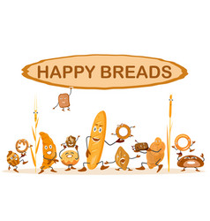 cute background with bread characters wheat rye vector image