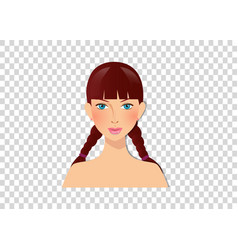 Cute cartoon girl character portrait with blue vector