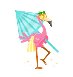Cute cartoon pink flamingo in funny sunglasses vector