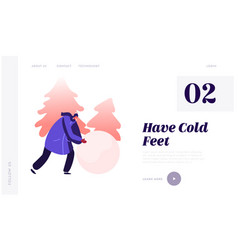 cute girl making snowman website landing page vector image