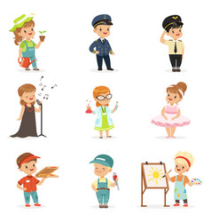 Cute kids in various professions set smiling vector
