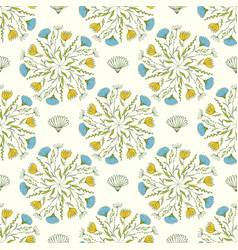 cute spring pattern with blue and yellow flowers vector image