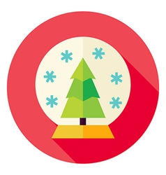 Decorative Snowglobe with Christmas Tree Circle vector