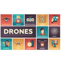 Drones - set of flat design infographics elements vector