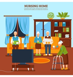 Elderly Nursing Indoor Composition vector