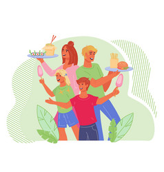 family at street food festival - people with food vector image