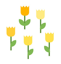 five blooming tulips icon flat isolated vector image