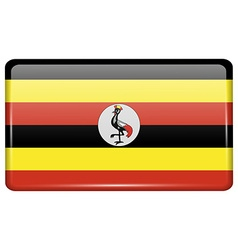 Flags Uganda in the form of a magnet on vector image