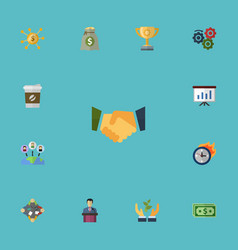 flat icons agreement show championship and other vector image