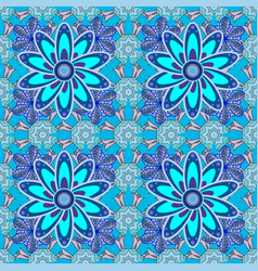 Flowers on blue neutral and violet colors floral vector