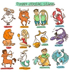 Funny Set of Twelve Isolated Zodiac Signs vector
