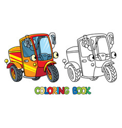 Funny small scooter or car with eyes coloring book vector