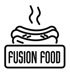 Fusion hot food logo outline style vector