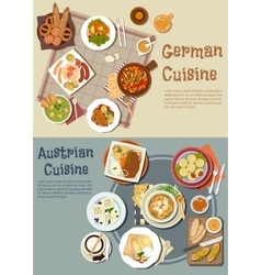 German and austrian cuisine dishes vector